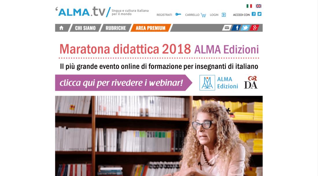 イタリア語の学習にぴったりのサイトalma.tvの画面