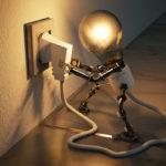 コンセントに繋がれた電球